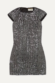 Sequined crepe mini dress