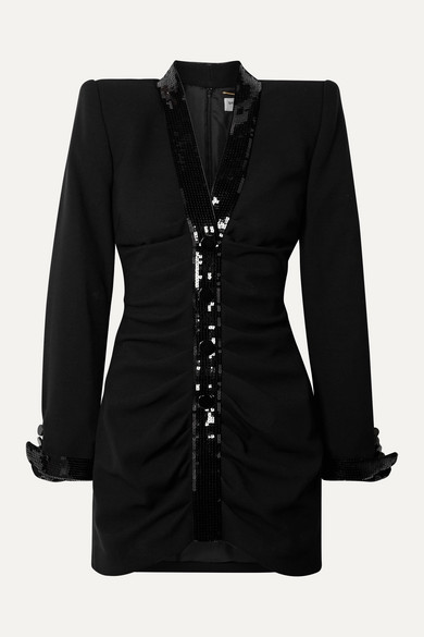 Saint Laurent Dresses Sequin-embellished ruched wool mini dress