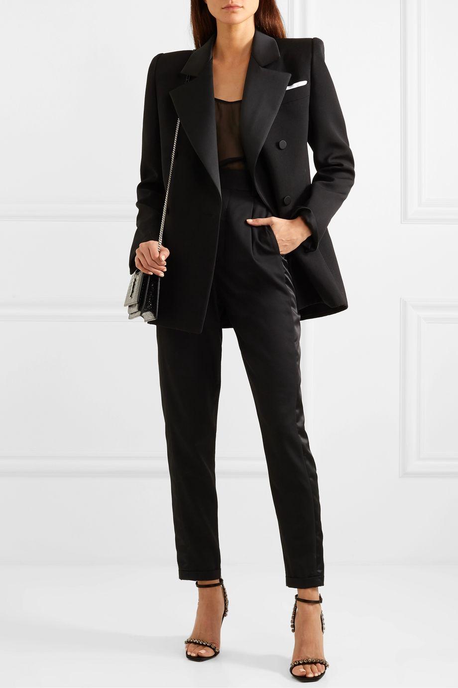 SAINT LAURENT Silk satin-trimmed wool mini dress