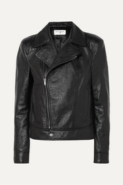 SAINT LAURENT Cropped textured-leather biker jacket