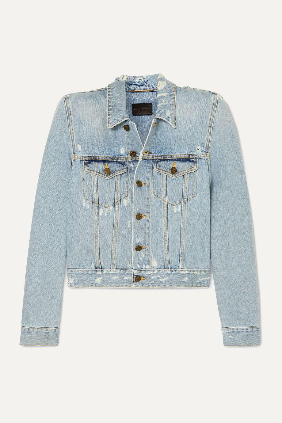 SAINT LAURENT Cropped distressed denim jacket