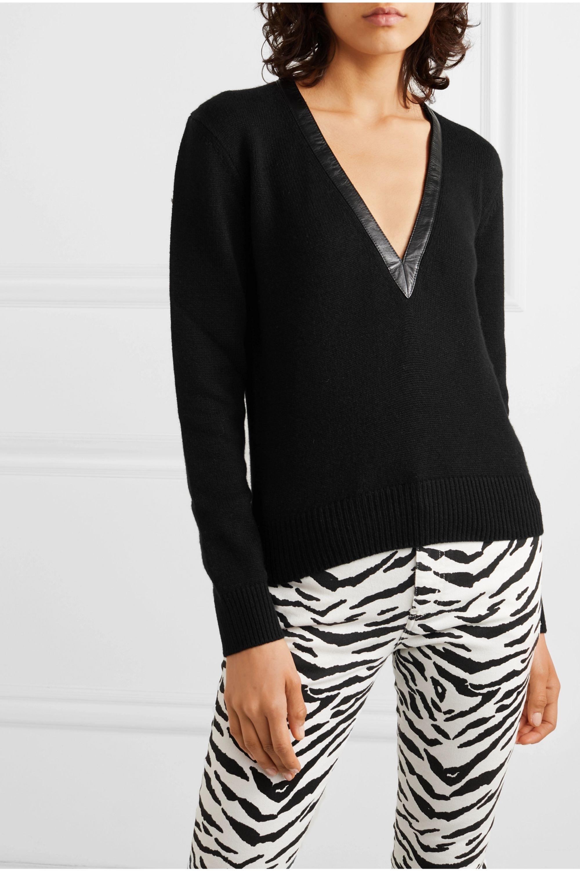 SAINT LAURENT Leather-trimmed cashmere sweater