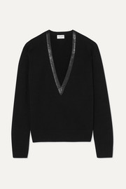 SAINT LAURENT Leather-trimmed cashmere sweater
