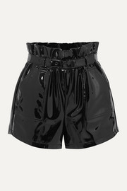 SAINT LAURENT Belted patent-leather shorts