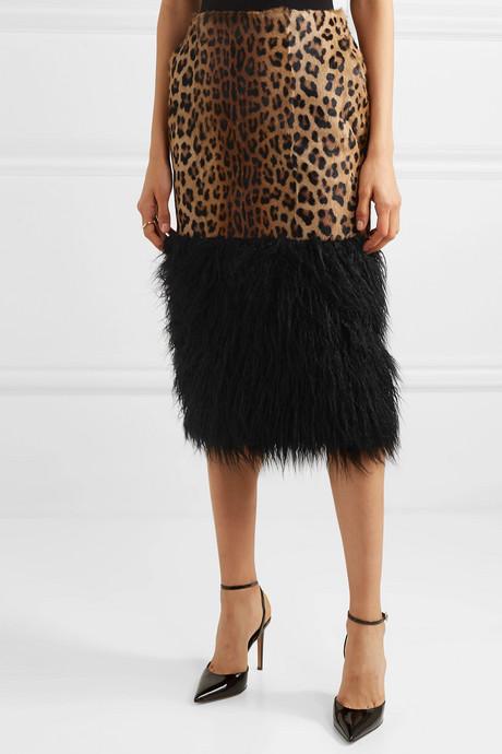 Shearling and leopard-print faux fur midi skirt