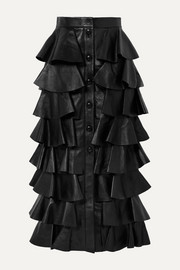 SAINT LAURENT Tiered ruffled leather maxi skirt