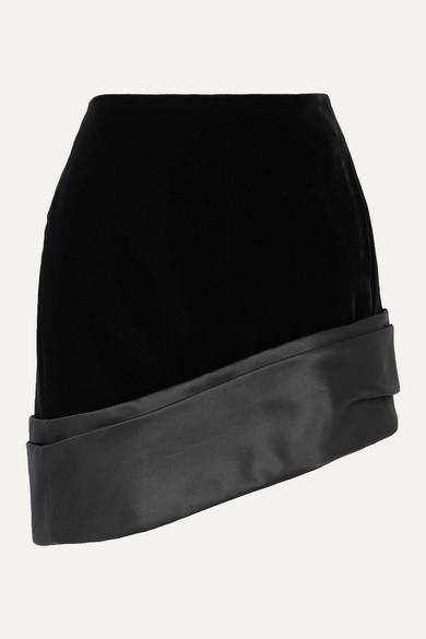 Saint Laurent Skirts Asymmetric silk-satin trimmed velvet mini skirt