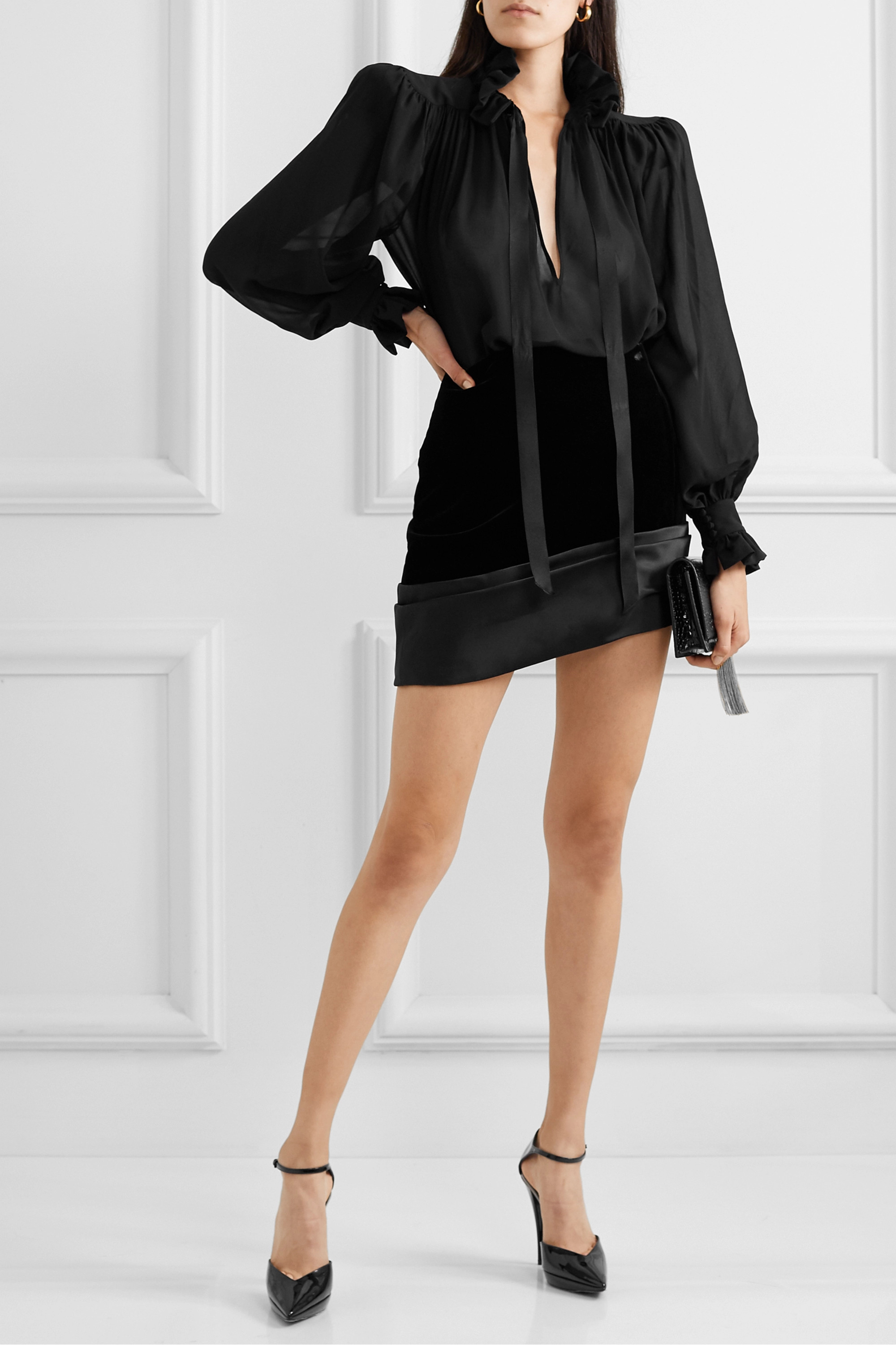 SAINT LAURENT Asymmetric silk-satin trimmed velvet mini skirt