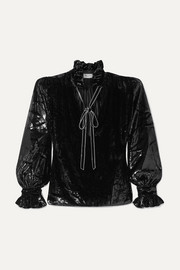 SAINT LAURENT Pussy-bow crystal-embellished metallic velvet blouse