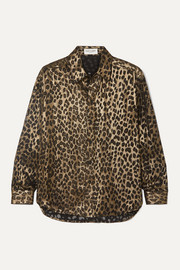 SAINT LAURENT Leopard-print silk-blend shirt