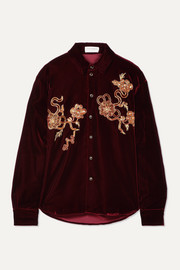 SAINT LAURENT Embellished velvet shirt