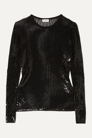 SAINT LAURENT Sequined linen and silk-blend top