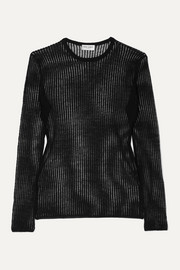 SAINT LAURENT Ribbed linen and silk-blend top