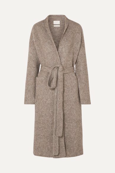 Belted Mélange Knitted Coat by Lauren Manoogian