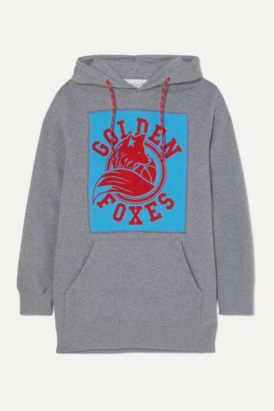 Golden Goose Tops Saboten appliquéd mélange cotton-jersey hoodie
