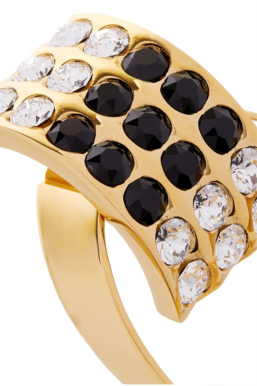 SAINT LAURENT Gold-tone, crystal and enamel clip earrings