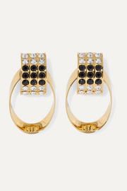 SAINT LAURENT Gold-tone, crystal and enamel clip earrings