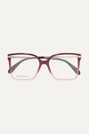 Oversized square-frame ombré acetate optical glasses