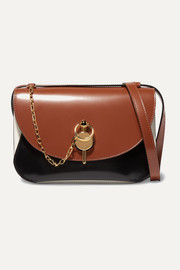 Keyts color-block glossed-leather shoulder bag