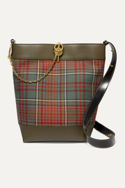 Keyts leather-trimmed tartan twill tote