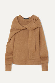 Tie-front knitted sweater