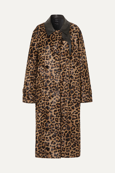 Deckard Mantel aus Faux Fur mit Leopardenprint und Lederbesatz