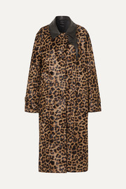 Deckard leather-trimmed leopard-print faux fur coat