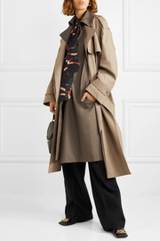 Belted layered two-tone cotton-gabardine trench coat