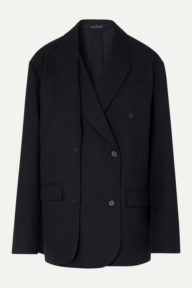 Layered Double Breasted Twill Blazer by Rokh