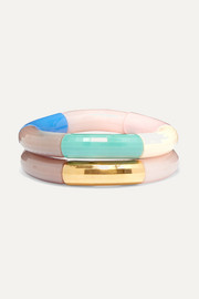 Kyoto Tango Set of two resin and gold-plated bangles