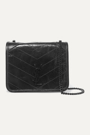 Niki mini crinkled glossed-leather shoulder bag