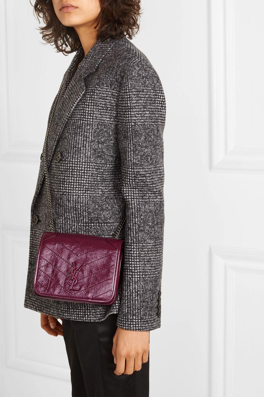 SAINT LAURENT Niki mini quilted crinkled-leather shoulder bag
