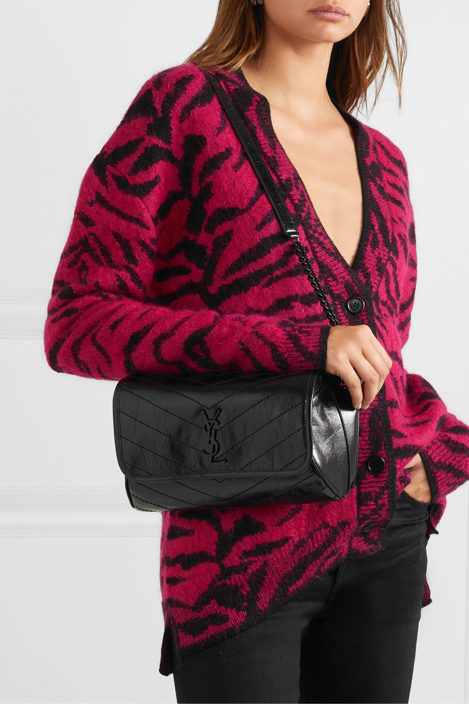 SAINT LAURENT Niki medium quilted crinkled glossed-leather belt bag