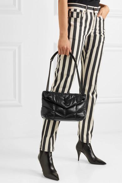 Striped low-rise slim-leg jeans