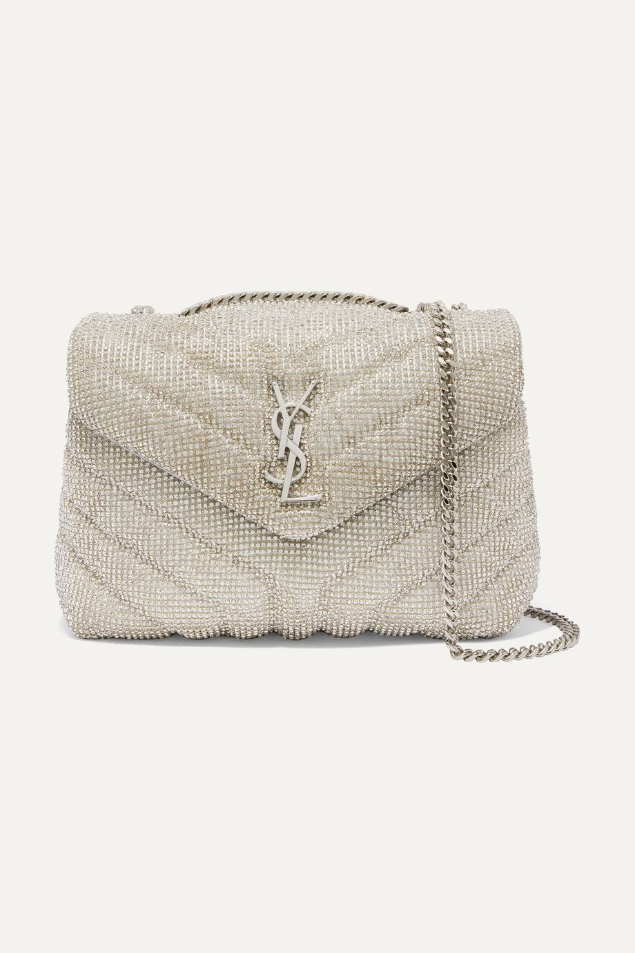 SAINT LAURENT Loulou small crystal-embellished quilted leather shoulder bag