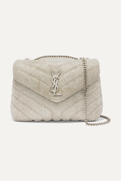 Loulou Small Crystal Embellished Quilted Leather Shoulder Bag by Saint Laurent