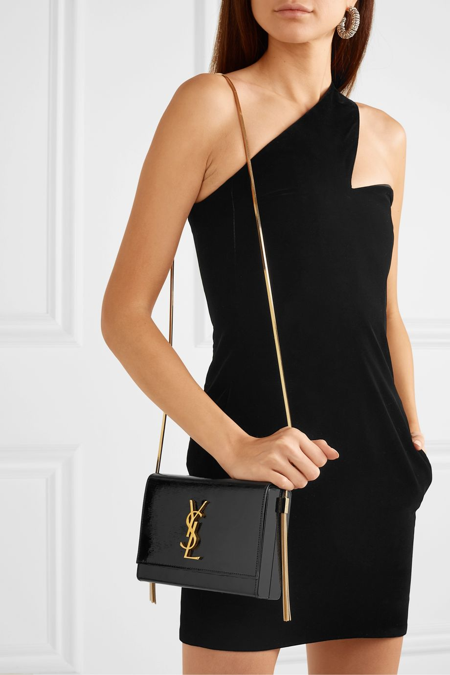 SAINT LAURENT Kate textured patent-leather shoulder bag