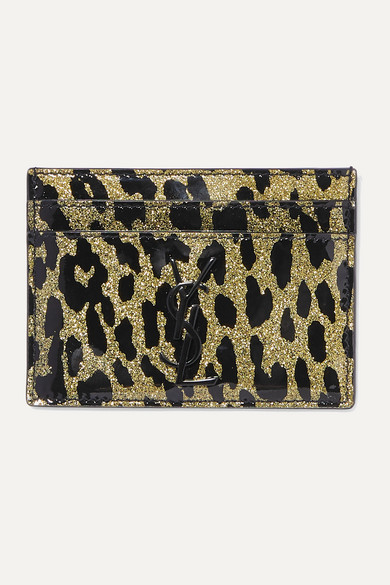 Kartenetui Aus Pvc Mit Leopardenprint Und Glitter Finish by Saint Laurent
