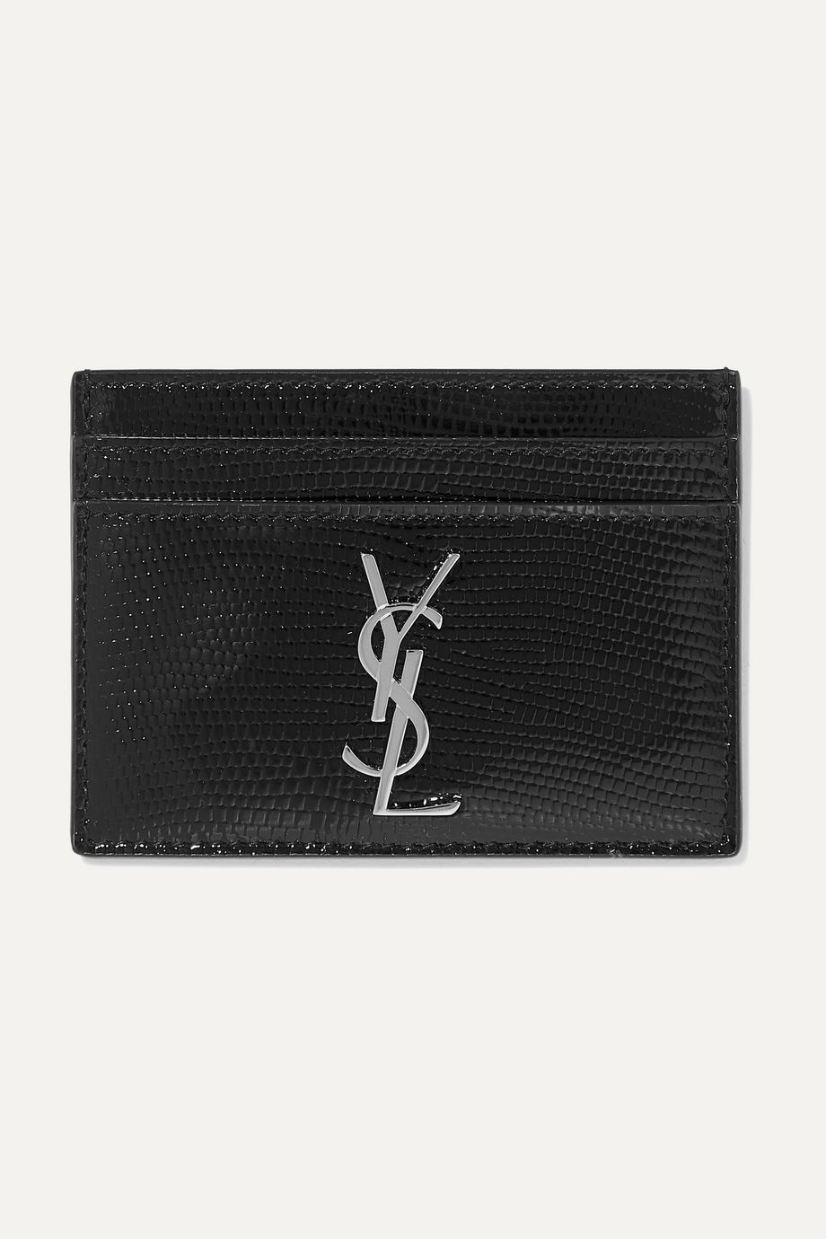 SAINT LAURENT Lizard-effect glossed-leather cardholder