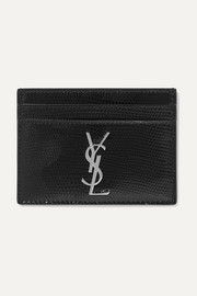 Lizard-effect glossed-leather cardholder