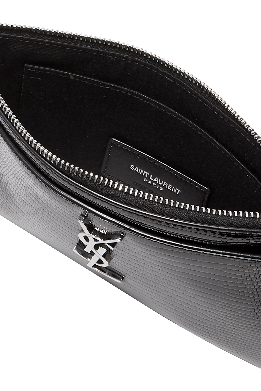 SAINT LAURENT Lizard-effect glossed-leather wallet