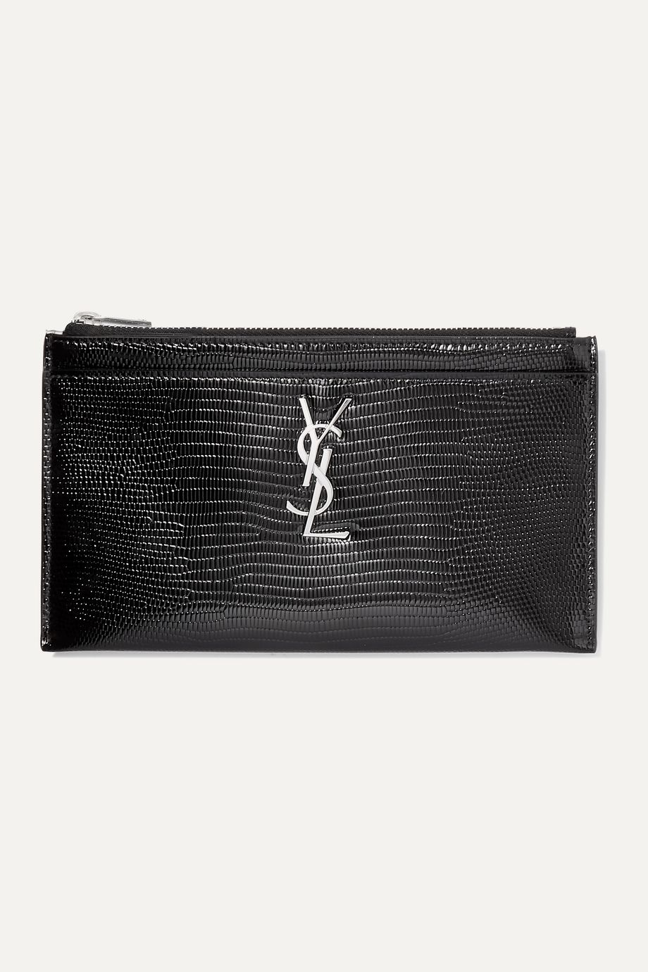 SAINT LAURENT Lizard-effect glossed-leather wallet