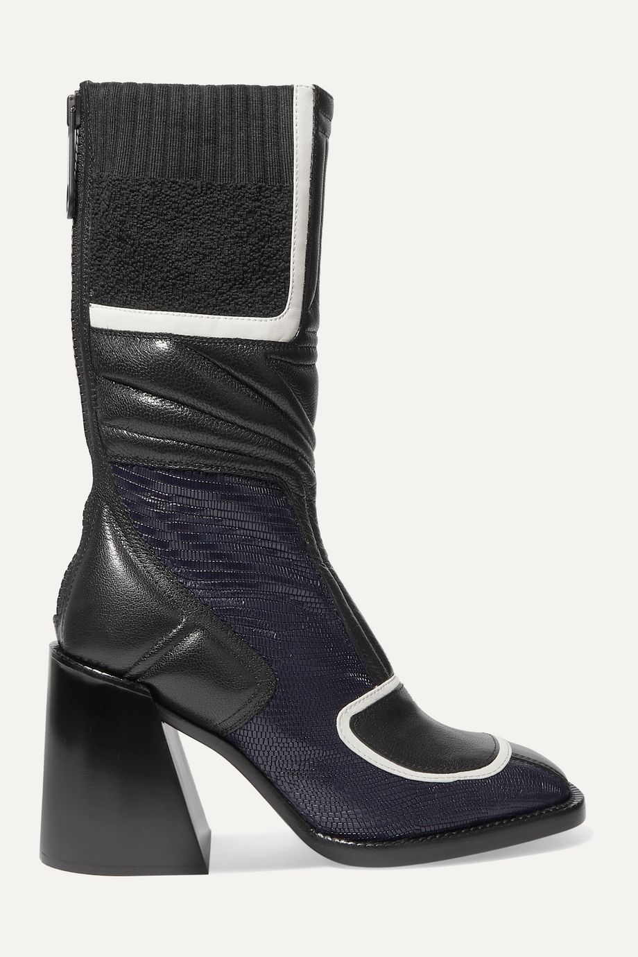 Chloé Belle paneled quilted glossed-leather ankle boots