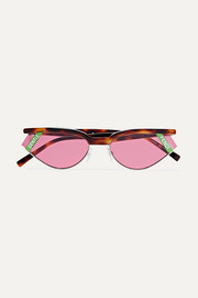 Gentle Fendi cat-eye tortoisehell acetate and silver-tone sunglasses