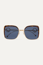 Oversized square-frame gold-tone and printed tortoiseshell acetate sunglasses