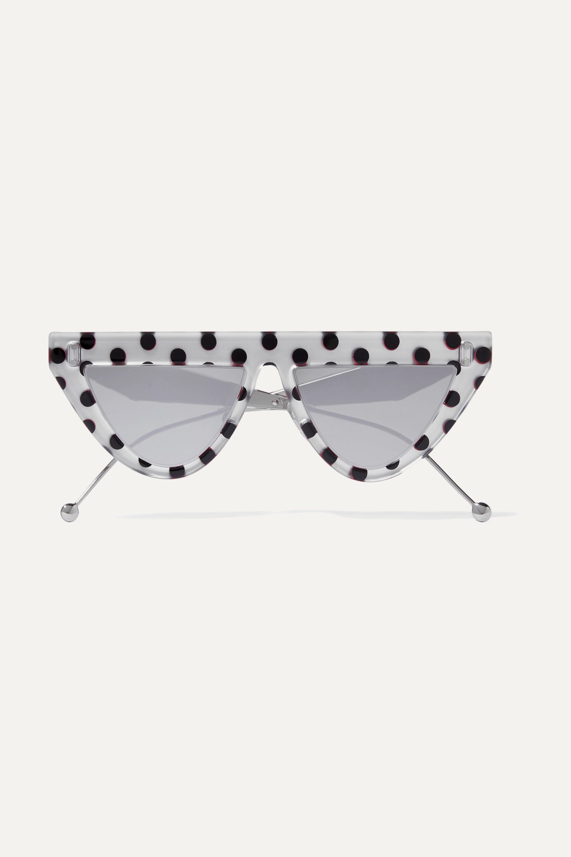 Fendi D-frame polka-dot acetate and silver-tone mirrored sunglasses