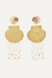 Tropics gold-tone, resin, crystal and faux pearl clip earrings
