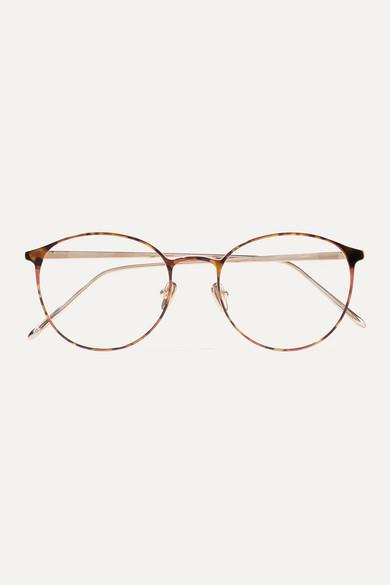 round-frame-tortoiseshell-acetate-and-gold-tone-optical-glasses by linda-farrow