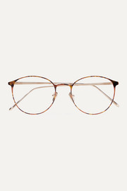Round-frame tortoiseshell acetate and gold-tone optical glasses