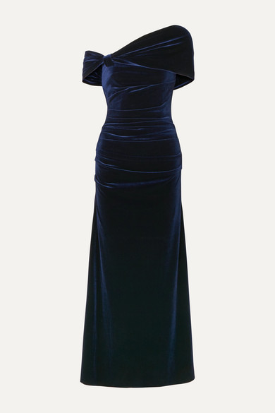 One Shoulder Open Back Stretch Velvet Gown by Talbot Runhof